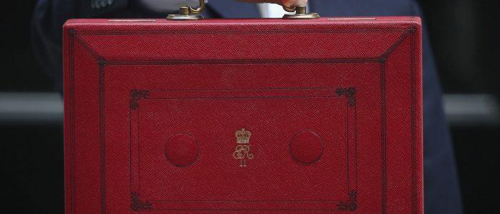 red budget briefcase